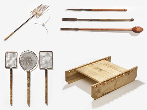 얼음낚시 도구 - 견짓채와 낛바늘, 얼음끌, 물치개, 장부썰매