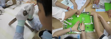 유물관리와 전시기획 교육중인 청소년